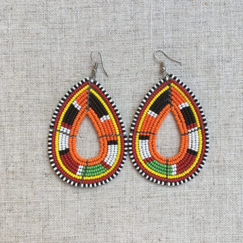 680cc1c16 Image Unavailable. Image not available for. Color: Gift\for\her African  inspired Tassel earrings rainbow jewelry beaded ...