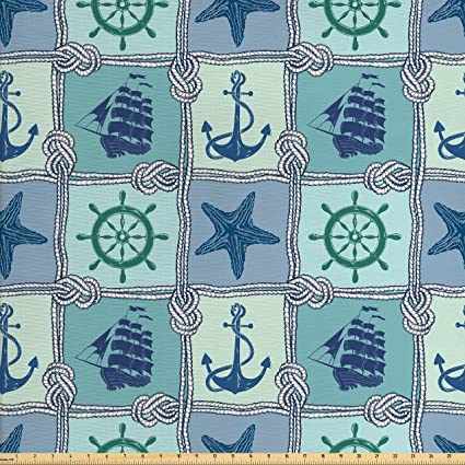 Amazon Com Lunarable Ship Fabric By The Yard Nautical Themed