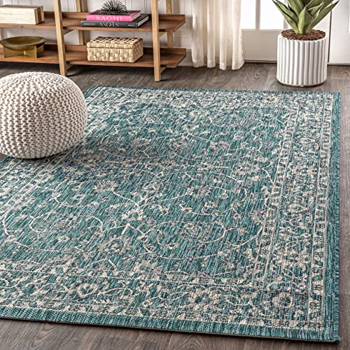 JONATHAN Y Palazzo Vine and Border Textured Weave Indoor/Outdoor Teal/Gray 8 ft. x 10 ft. Area Rug