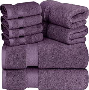 Utopia Towels - Premium Towel Set, Plum - 2 Bath Towels, 2 Hand Towels, and 4 Washcloths - 700 GSM Ring Spun Cotton Highly Absorbent Towels for Bathroom, Shower Towel, (8 Pieces)