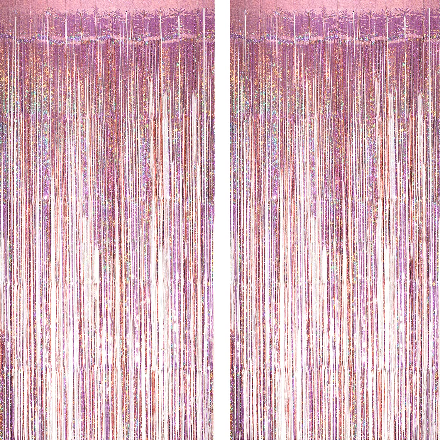 Pink Tinsel Foil Fringe Curtains - Under The Sea Baby Shower Birthday Photo Backdrops Bachelorette Wedding Engagement Party Decor Photo Booth Props Backdrops Decorations,2pc