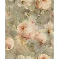 Rasch 467314 Vincenza Vliesbehang, roze bloemenaquarel op olijfgroene achtergrond, 10,05 m x 53 cm
