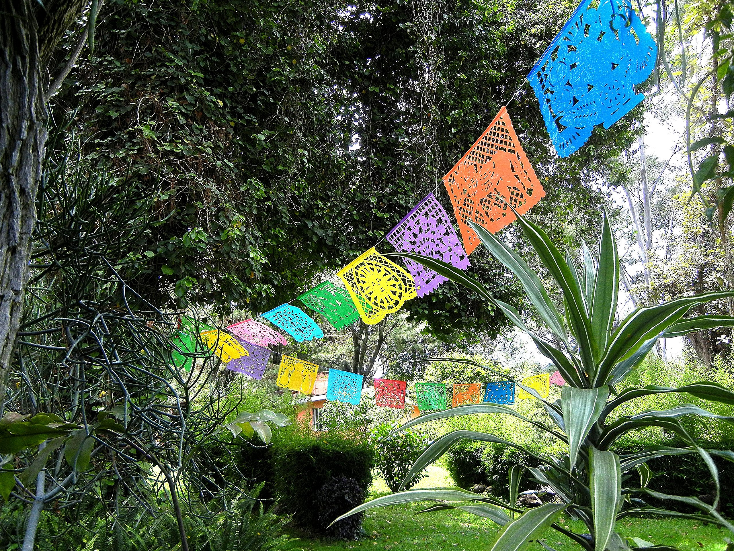 Mexican Decoration Papel Picado Plastic Banner Colorful Tissue Paper Coco Movie -Fiesta Party Birthday Family Celebrations- 64 Feet Includes 4 Large Banners (16 Feet Long 10 Panels each)- Handmade by IREKUA