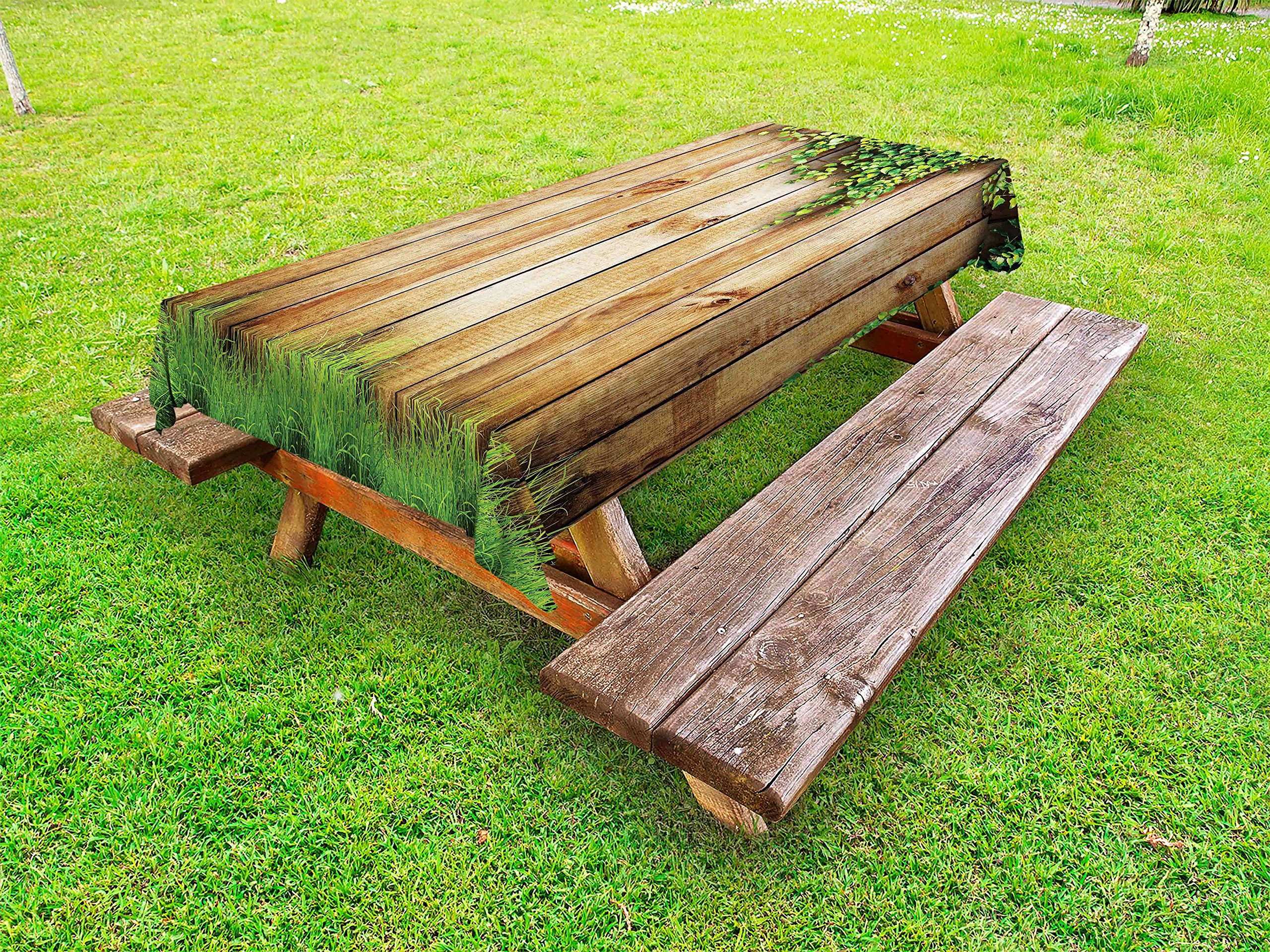 Ambesonne Rustic Outdoor Tablecloth, Fresh Spring Season Grass and Leaf Plant Over Old Wood Fence Garden Field Photo, Decorative Washable Picnic Table Cloth, 58 X 84 inches, Green Brown