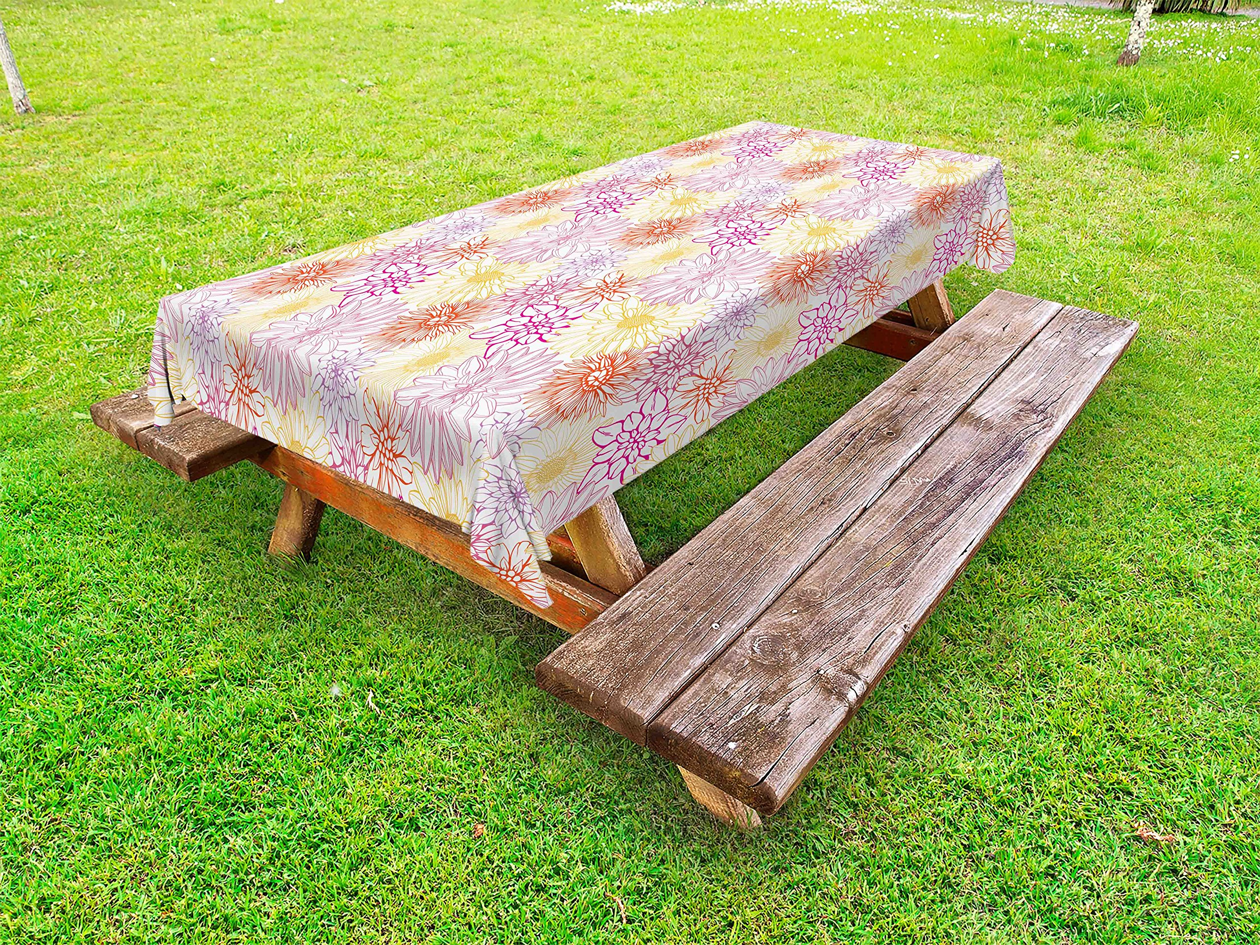 Ambesonne Floral Outdoor Tablecloth, Blossom Spa Gardening Theme Flower Petals Essence Bouquet Art, Decorative Washable Picnic Table Cloth, 58 X 120 inches, Pale Yellow Dark Coral Fuchsia