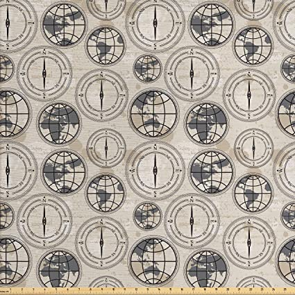 Amazon ambesonne compass fabric by the yard world map pattern ambesonne compass fabric by the yard world map pattern with aged background maritime symbols directions gumiabroncs Gallery