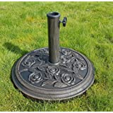 LIVIVO ® Heavy Duty 9kg Cast Iron Parasol Base with Floral Rose Design – Looks Great in Any Garden - Secure and Robust Design - Accommodates Parasol Poles up to 50mm in Diameter - Easy to Assemble and Simple to Adjust