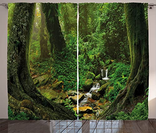 Ambesonne Nature Curtains, Wonderland Forest Nepal Jungle Rainforests Habitat Wild Primeval Picture Print, Living Room Bedroom Window Drapes 2 Panel Set, 108 X 63 , Green