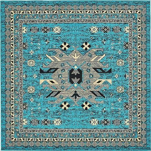 Unique Loom Taftan Collection Geometric Tribal Turquoise Square Rug 8 0 x 8 0