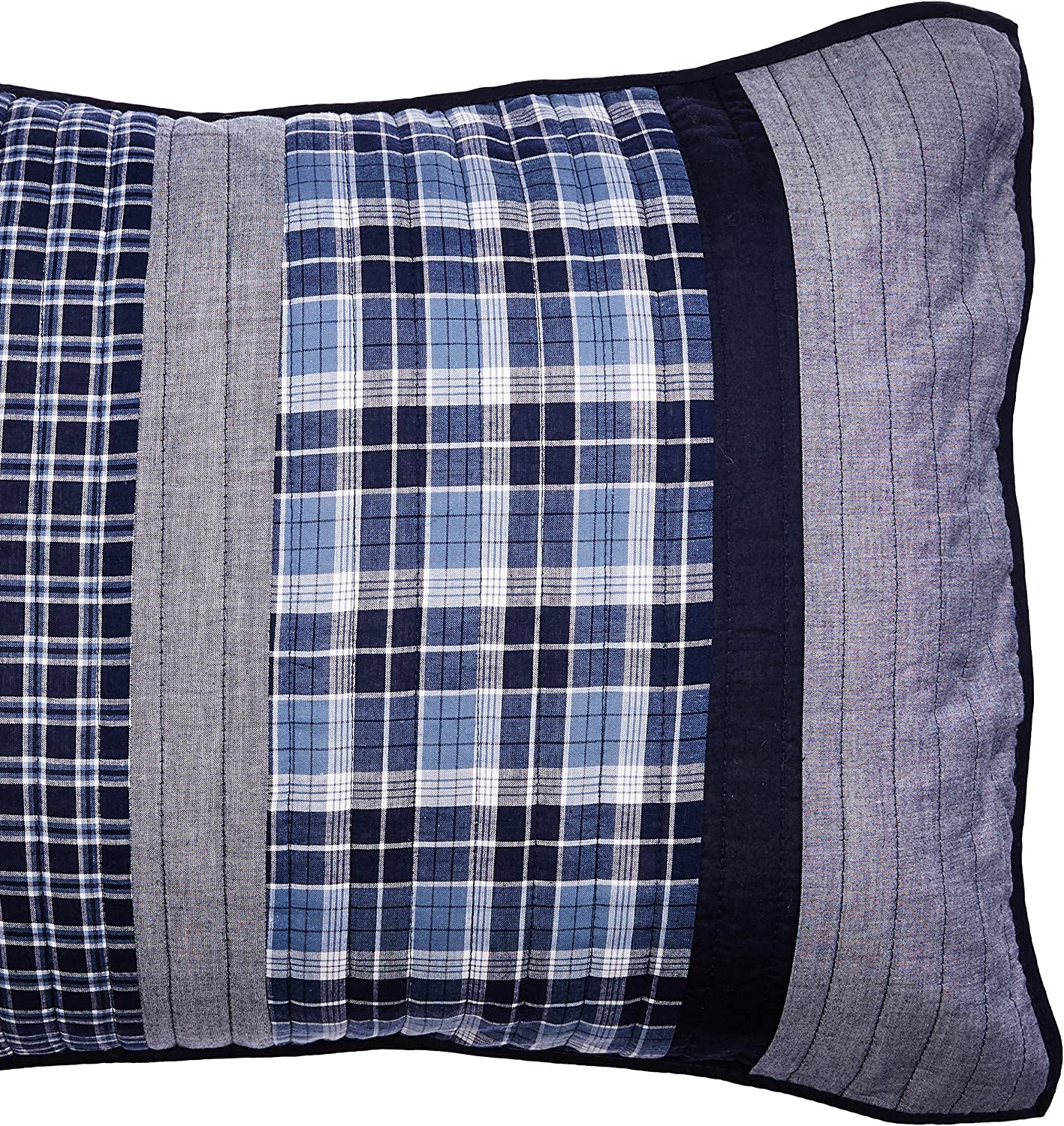 Nautica | Adleson Collection | 100% Cotton Quilted Accent Standard Sham, Envelope Closure, Pre-Washed for Added Softness, Easy Care Machine Washable, Blue/Grey