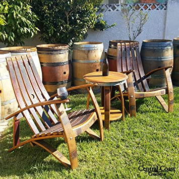 wine barrell furniture.  Barrell Adirondack Chair Set  Wine Barrel Handcrafted Central Coast Creations  Furniture Intended Barrell