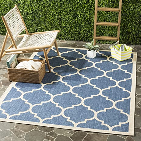 Safavieh Courtyard Collection CY6914 243 Blue And Beige Indoor/ Outdoor  Area Rug (9
