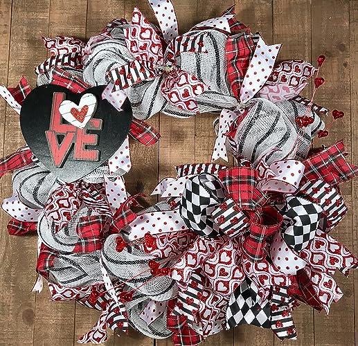 Amazon Com Red Black Valentine S Day Deco Mesh Wreath Handmade