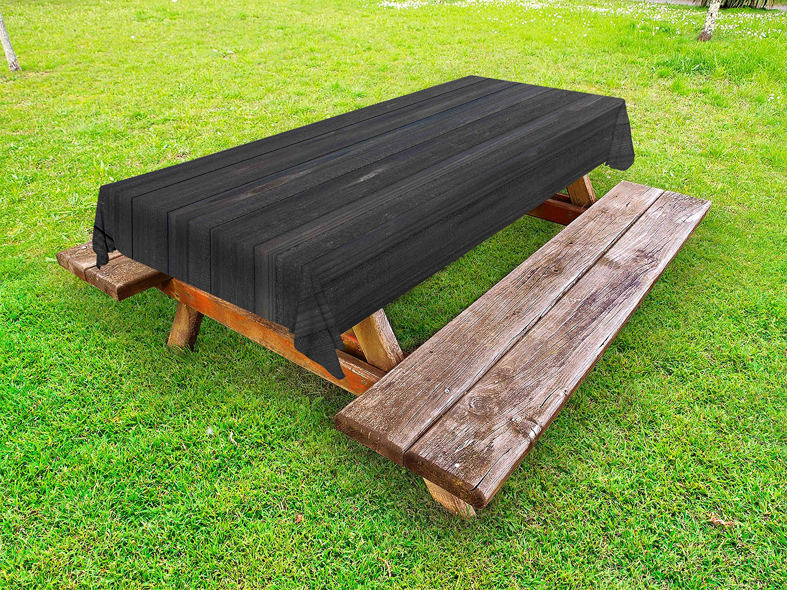 Ambesonne Dark Grey Outdoor Tablecloth, Wood Fence Texture Image Rough Rustic Weathered Surface Timber Oak Planks, Decorative Washable Picnic Table Cloth, 58 X 84 inches, Dark Grey Blue