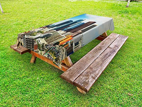 Amazoncom Lunarable USA Outdoor Tablecloth Los Angeles Cityscape - Picnic table los angeles