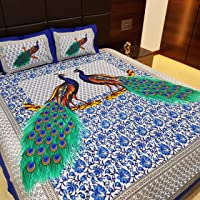 Jaipur Nagri 86 X 102 Inches Lucky Peacock Collection Cotton Bed Sheet Double with Pillow Cover King Size