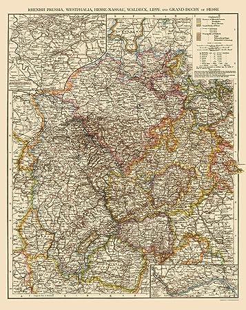 Amazon Com Old Germany Map Westphalia Region Times London 1895