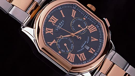 Amazon.com: Stauer Mens Versailles Rose-Gold Finished 27 Jewel Automatic Watch with Stainless Steel Bracelet: Watches