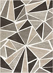 Well Woven Ventana Triangles Grey Geometric Modern Abstract Lines Area Rug 5x7 (5'3 x 7'3) Carpet