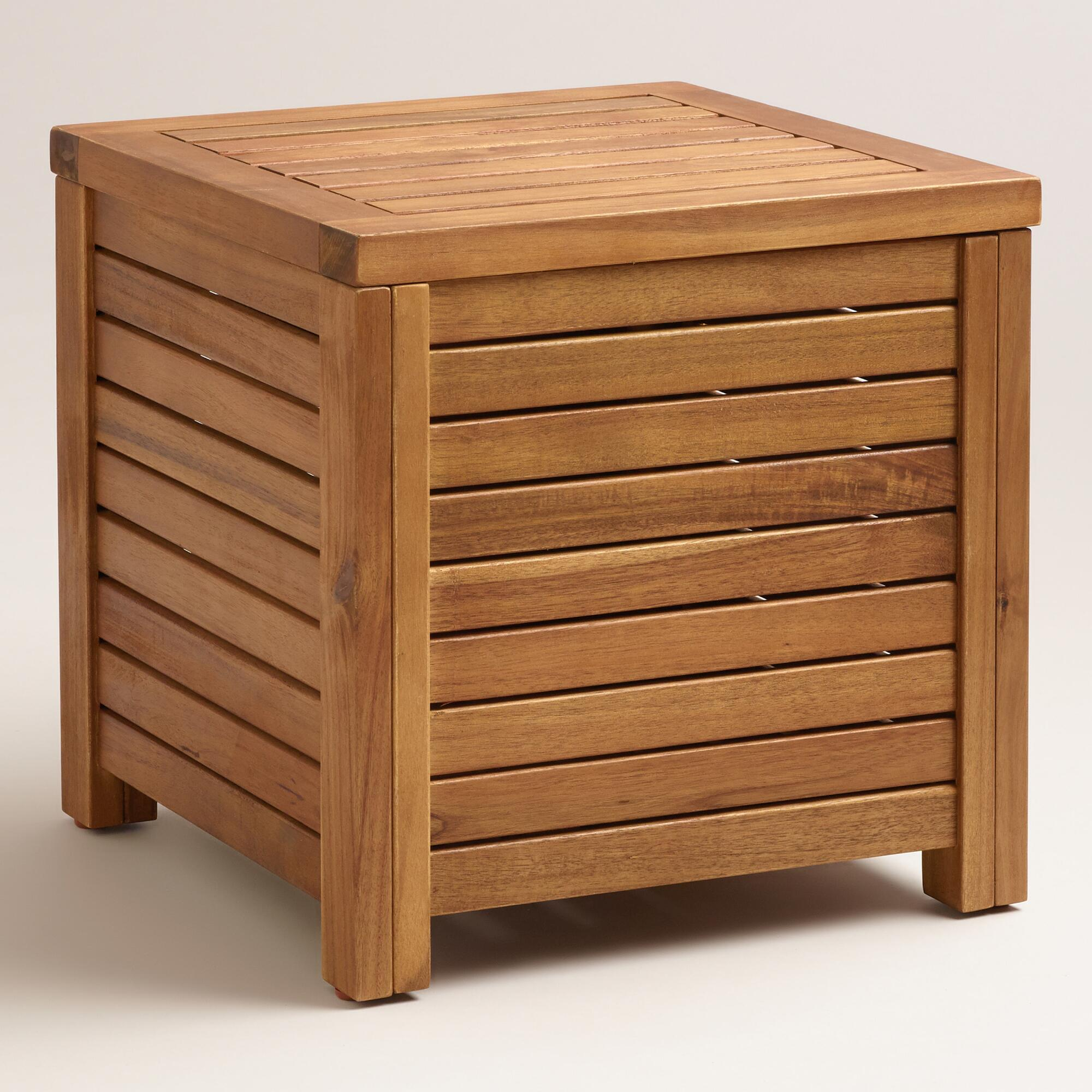 Wood Praiano Outdoor Storage Side Table | World Market
