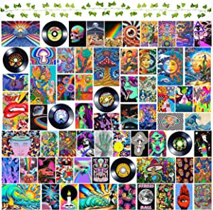 DMHG 100 pcs Hippie Trippy Drippy Aesthetic Pictures Wall Collage Kit 76 pcs Photos +16 Posters+ Artificial Vines and Paper Vintage Records - Trippy Wall Art Decor for Girls Boys