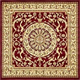 Unique Loom Versailles Collection Traditional Classic Red Square Rug (8' x 8')