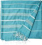 Cacala Pestemal Blanket Throw Turkish Striped Beach Towel Picnic Home Bed 59x79 TM Aqua