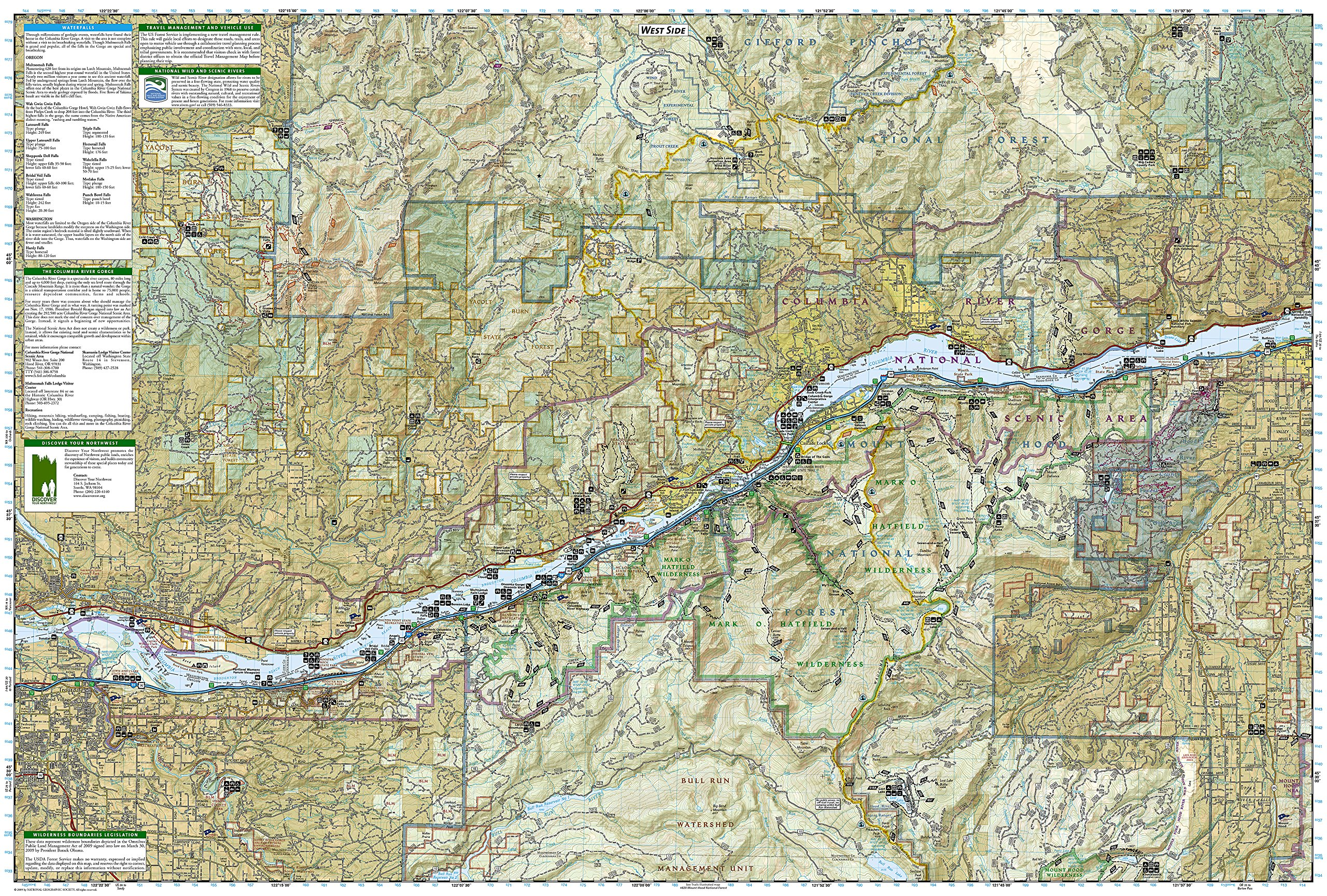 Red River Gorge Topographic Map.Columbia River Gorge National Scenic Area National Geographic