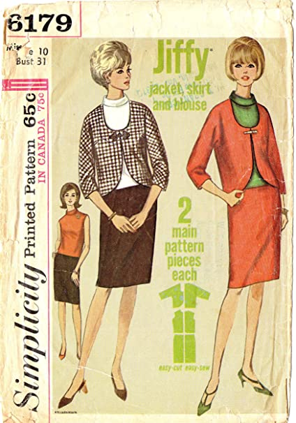 857a252aebb01a Amazon.com: Simplicity 1960s vintage sewing pattern 6179 suit and blouse -  Size 10: Everything Else