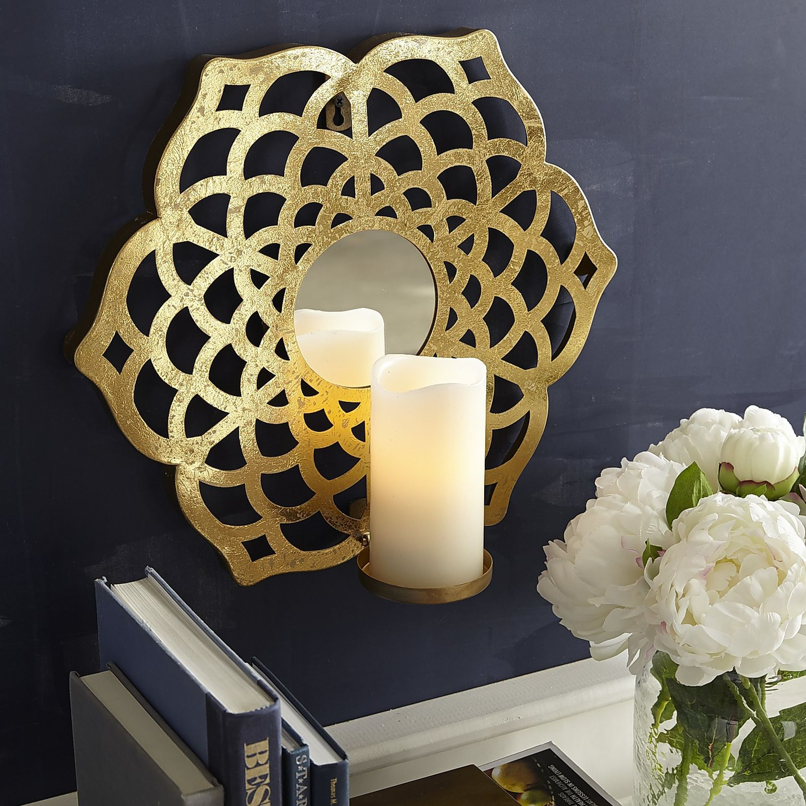 Gold Flower Pillar Candle Wall Sconce | Pier 1 Imports