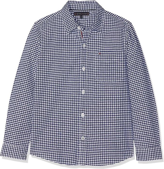 Tommy Hilfiger Essential Oxford Gingham Shirt L/s Blusa, Multicolor (Bright White/Black Iris 123), 152 (Talla del Fabricante: 12) para Niños: Amazon.es: Ropa y accesorios