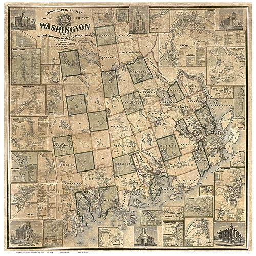 Amazon Com Washington County Maine 1861 Wall Map With Homeowner