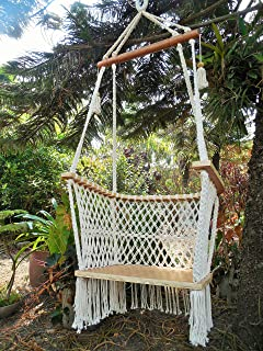 hanging chair macrame for adult or children 100  handmade beige color  nicaraguan hammock chair amazon    sorbus hammock chair macrame swing 265 pound capacity      rh   amazon
