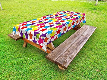 Modern Outdoor Tablecloth By Ambesonne, Little Rainbow Colored Funky Stars  Kids Nursery Boys Girls Theme