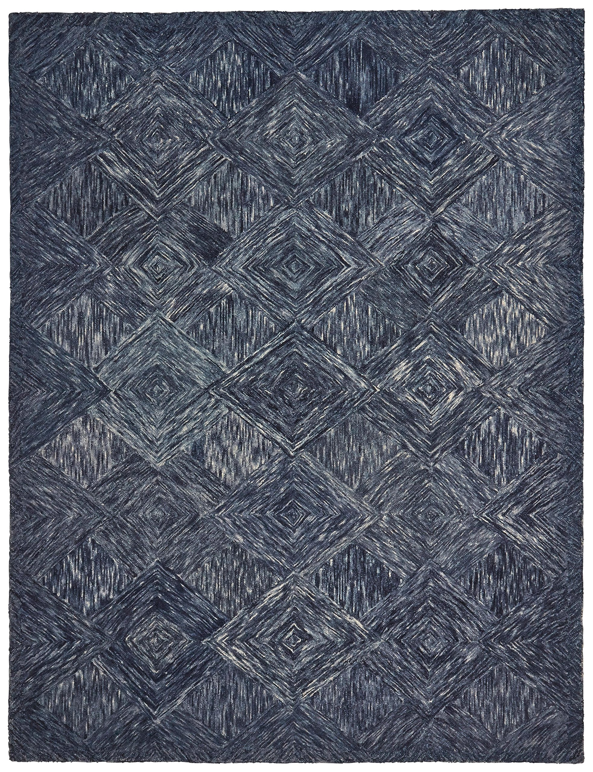 Rivet Motion Patterned Wool Area Rug, 8' x 10'6, Denim Blue by Rivet (Image #1)