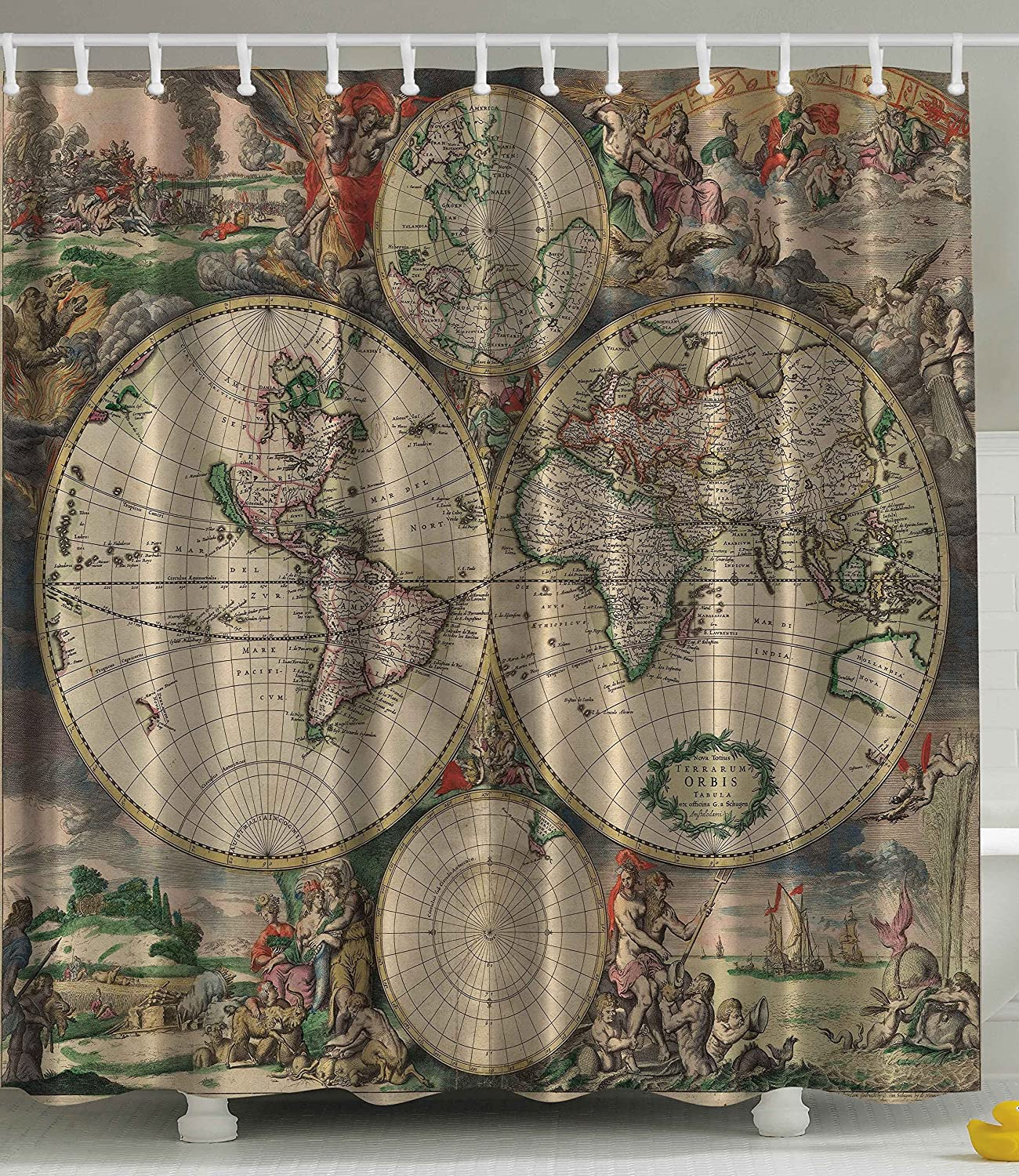 Treasure map shower curtain - Amazon Com Shower Curtain Antiques Old World Map Globe Art Lounge Decor Antique Traditional Ancient Antiqued Look Treasure Ocean Vintage Educational Print