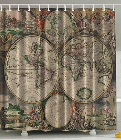 Shower Curtain Antiques Old World Map Globe Art Lounge Decor Antique Traditional Ancient Antiqued Look Treasure