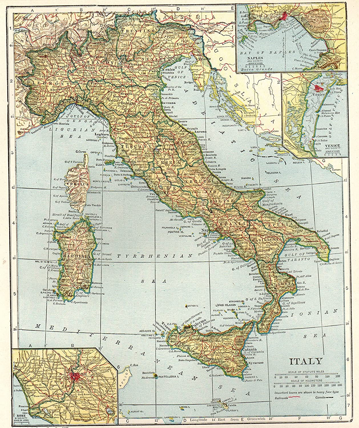 Talamone Italy Map.Amazon Com 1926 Antique Italy Map Original Vintage Map Of Italty
