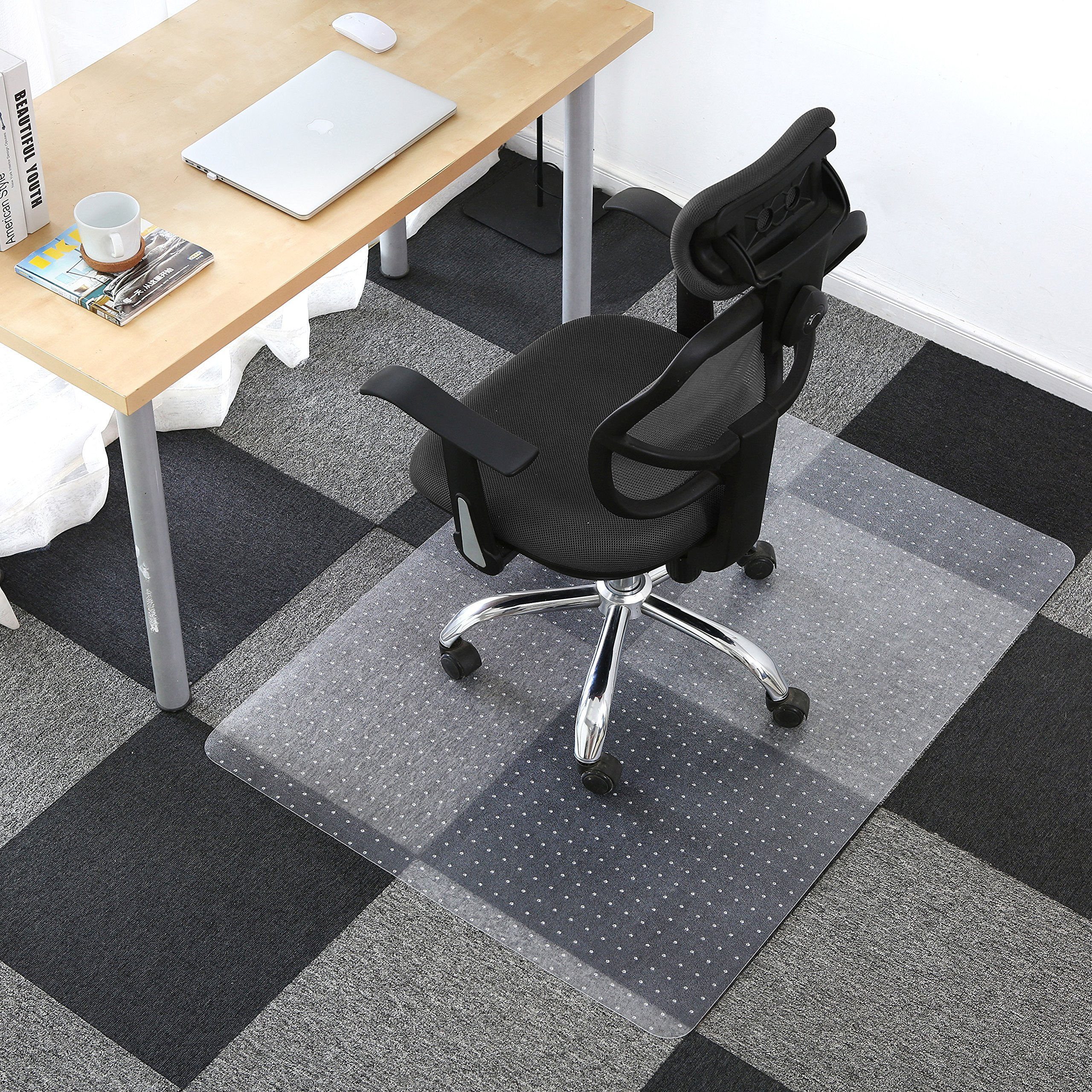 ALPHA HOME PVC Carpet Chair Mat for Home and Office | Non-Slip Studded Back | for Low Pile Carpets | Shipped Flat (36'' x 48'')
