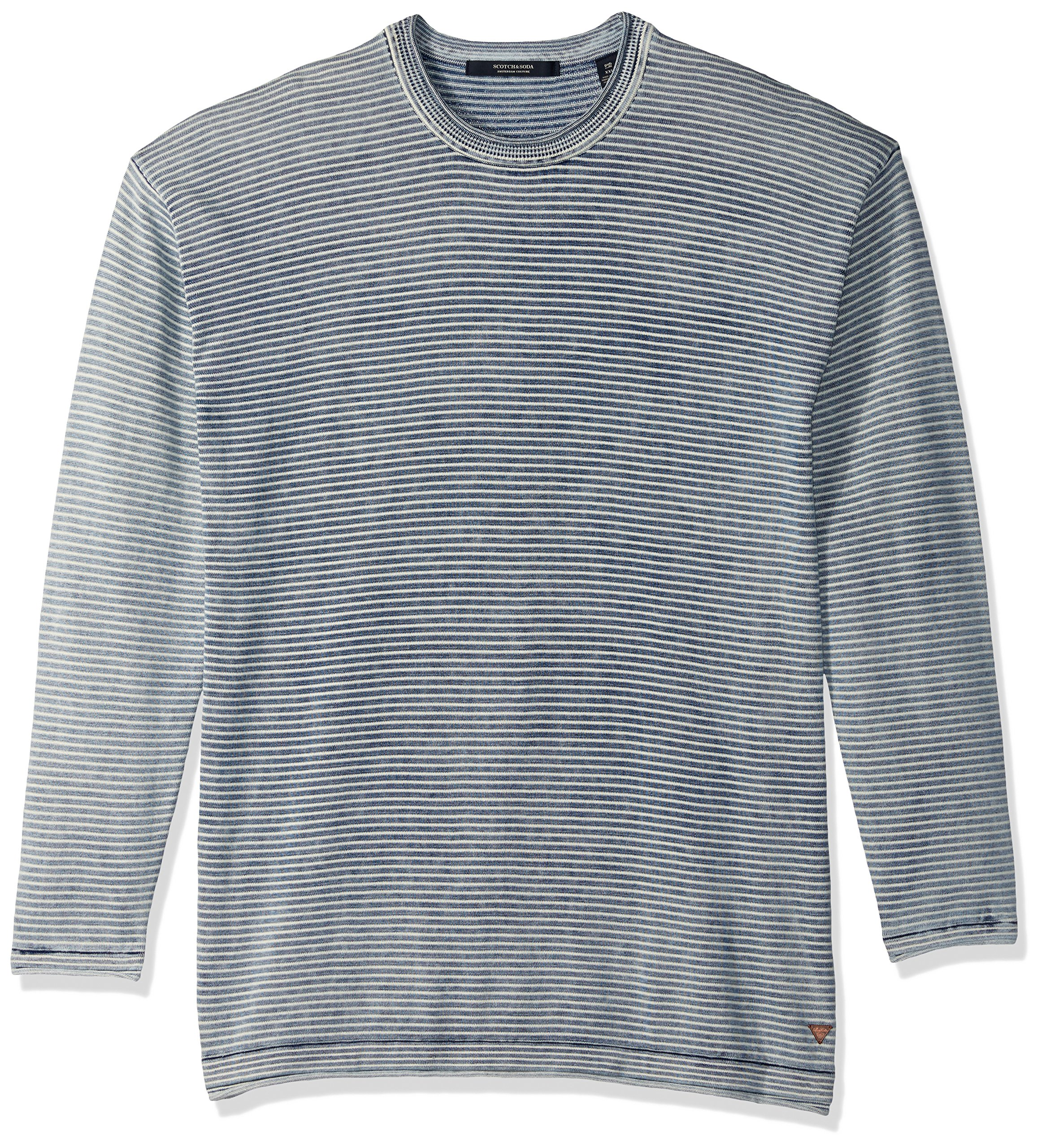Scotch & Soda Men's Crewneck Pullover in Real Indigo Quality with Raw Edge Finis, Combo a, Large
