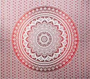 raajsee Red Mandala Ombre Tapestry Wall Hanging/Indian Cotton Boho Psychedelic Hippie Throw Tapestries//Elephant Wall Decor/Yoga Mat Beach Towel Blanket/A