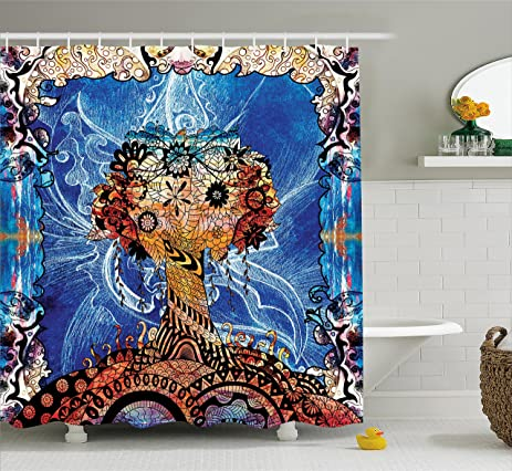 Trippy Shower Curtain By Ambesonne Indie Style Sketchy Retro Tree With Flower Forms On Paisley