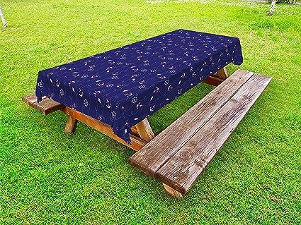 Amazoncom Lunarable Anchor Outdoor Tablecloth Nautical - Picnic table anchors