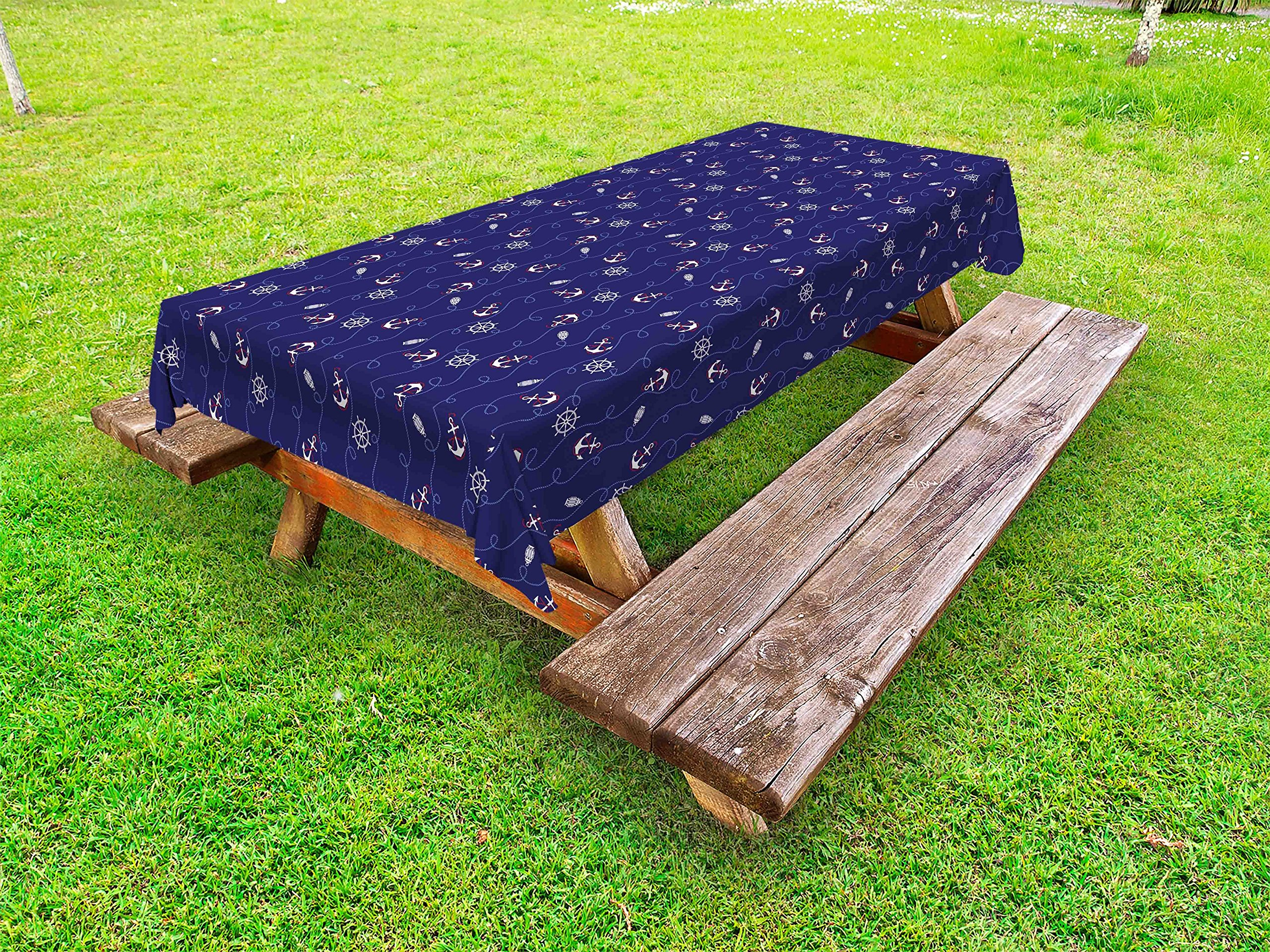 Lunarable Anchor Outdoor Tablecloth, Nautical Composition with Helm and Curved Ropes on a Navy Blue Background, Decorative Washable Picnic Table Cloth, 58 X 120 Inches, Navy Blue White Ruby