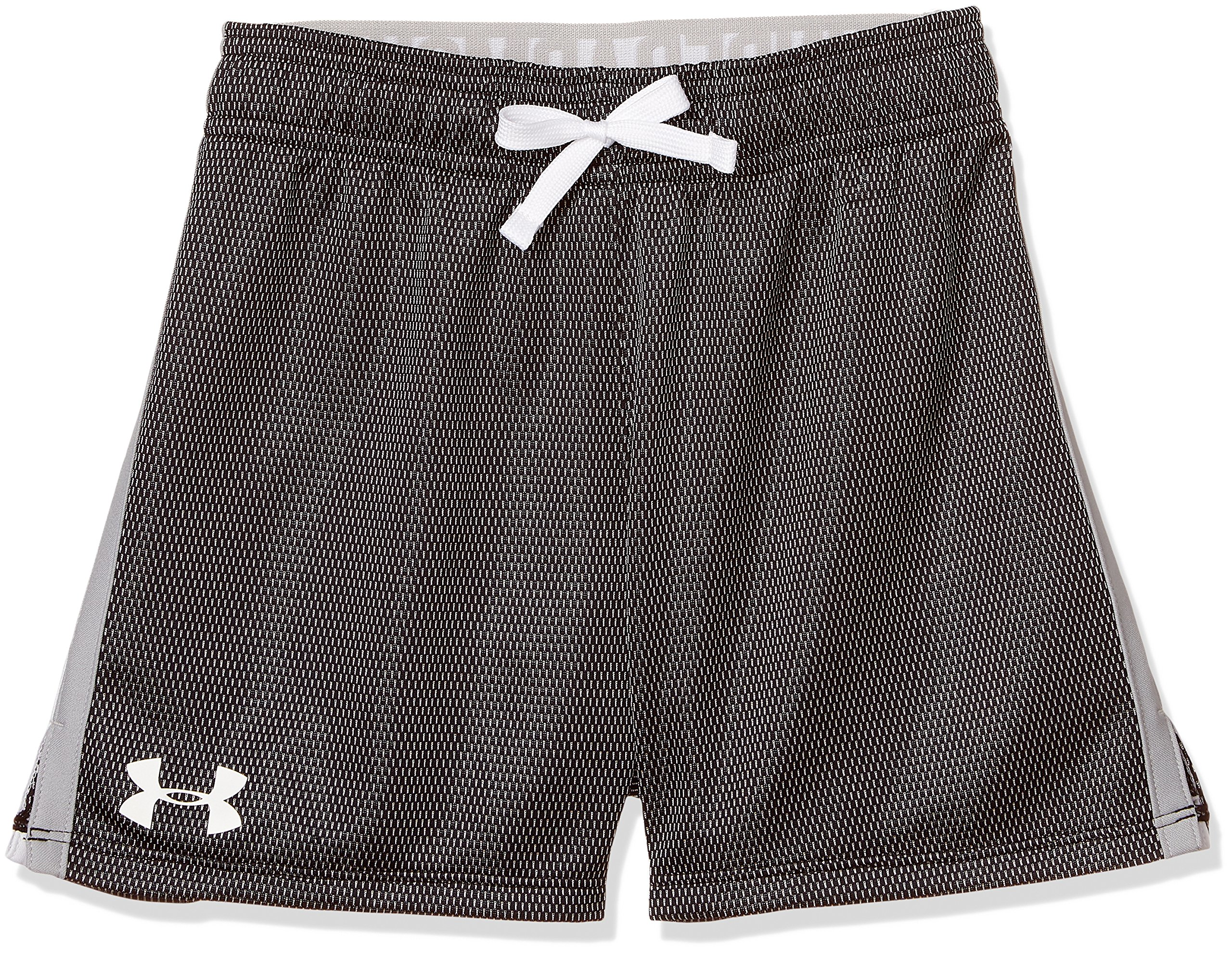 Under Armour Girls' Center Spot Shorts, Black /White, Youth X-Large by Under Armour