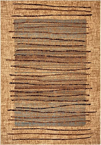 Rizzy Home Bellevue Collection Polypropylene Area Rug, 7 10 Round, Beige Blue Burgundy Abstract