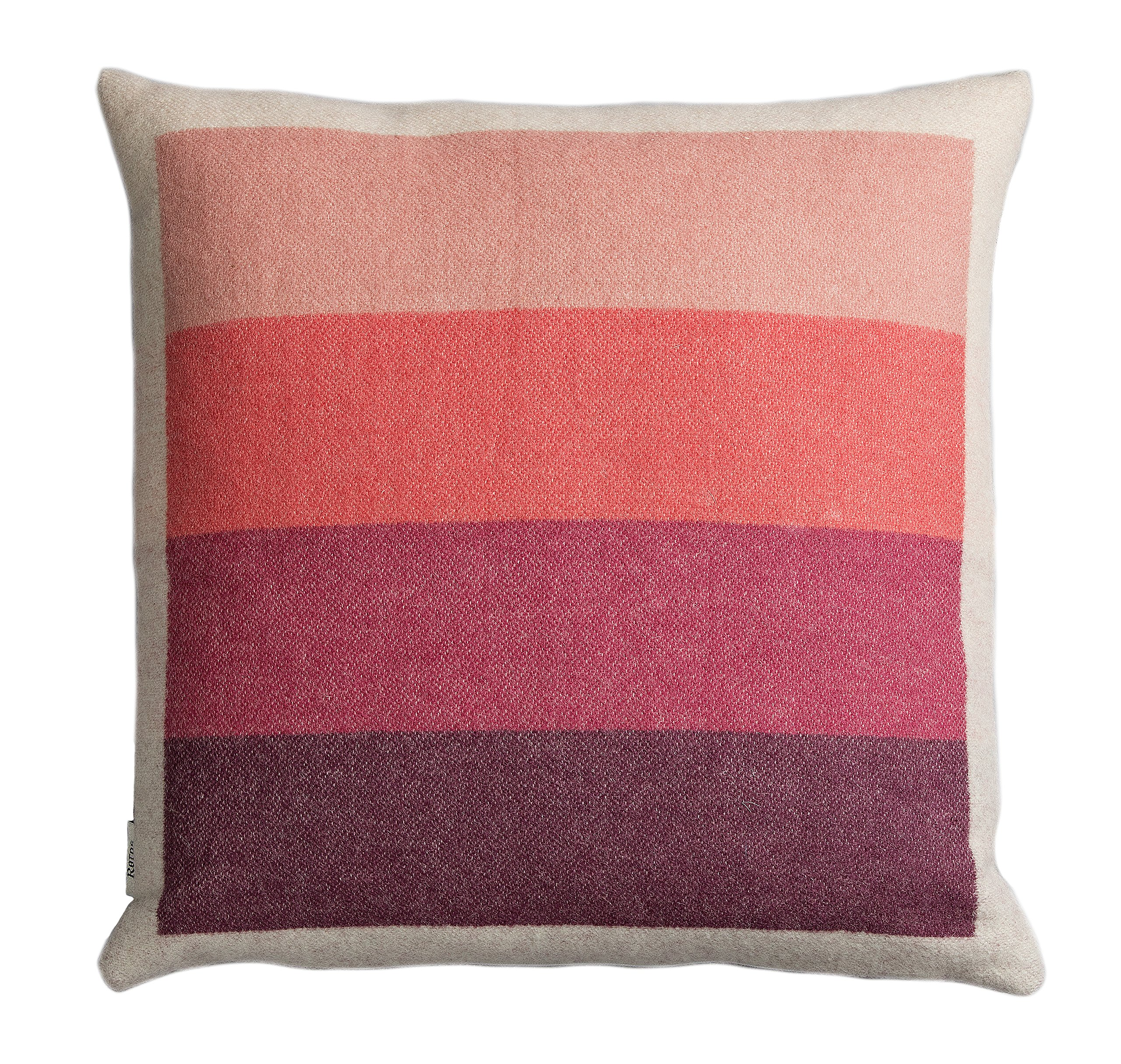 Roros Tweed 100% Norwegian Wool Reversible Designer Pillow Cushion (Asmund Bold in Pink/Green)