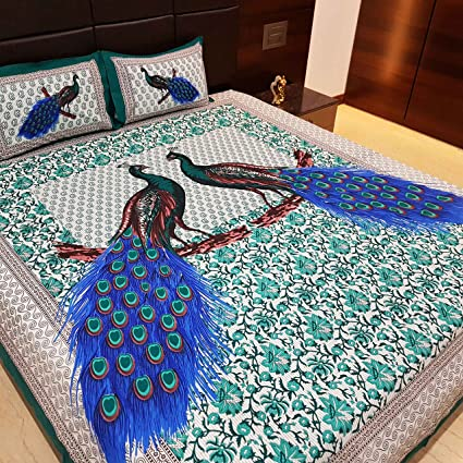 Jaipur Nagri Lucky Peacock Collection Cotton Bed Sheet Double with Pillow Cover King Size - Green Abstract