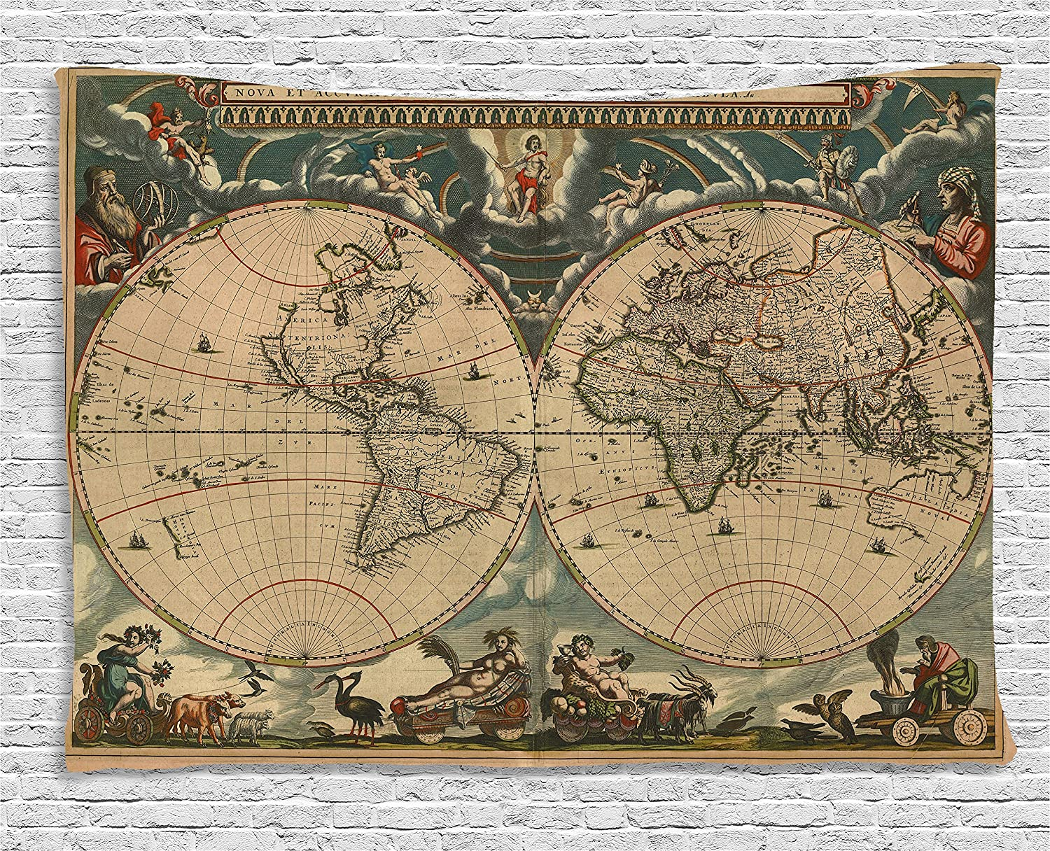 Amazon Com Ambesonne Vintage Tapestry Dated Old Map Of Ancient