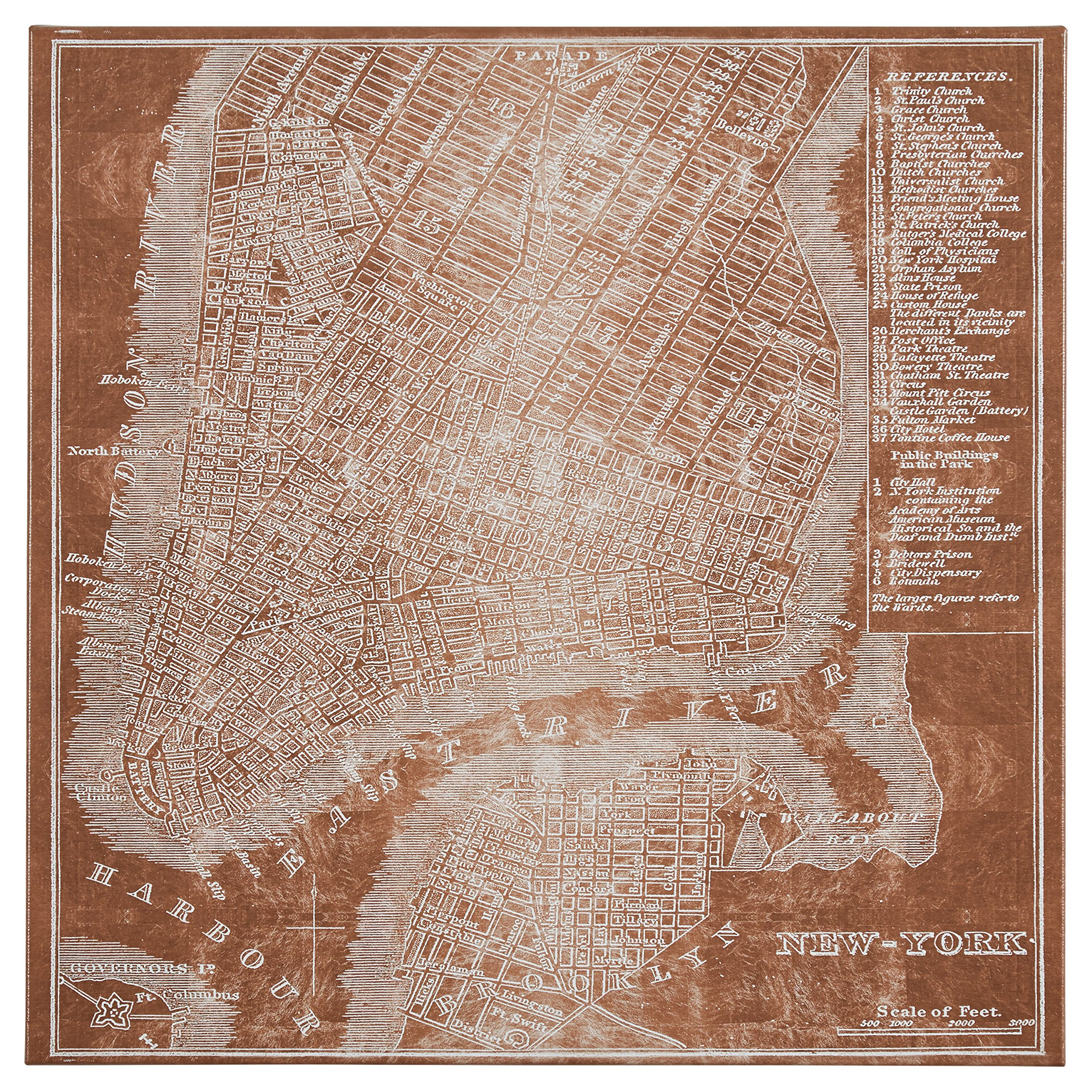 Modern Copper Print of New York City Map on Canvas, 24'' x 24''